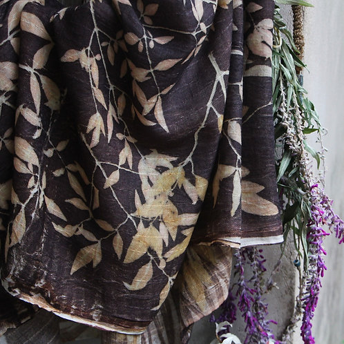 X-Large soft wool wrap printed  with Nandina leaves