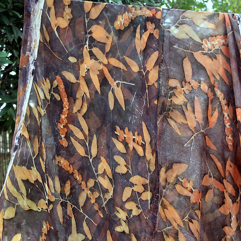 Silk chiffon scarf eco-printed with Eucalyptus leaves