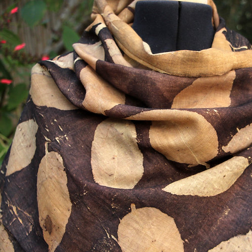 Large soft wool wrap printed  with Eucalyptus Torelliana leaves