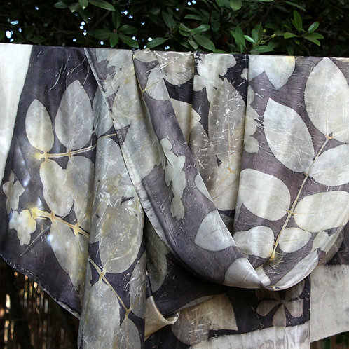 Large silk scarf printed with Cassia Fistula leaves