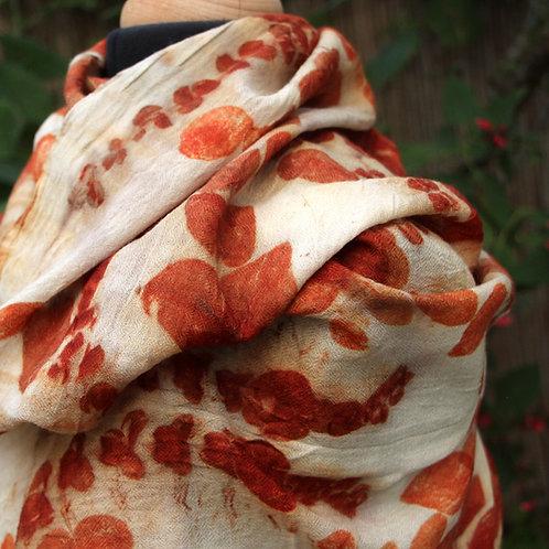 XL Virgin  Marino wool wrap printed & dyed with eucalyptus leaves