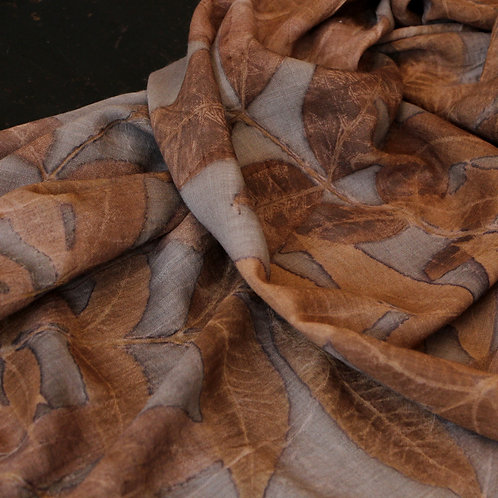 Virgin  wool wrap printed & dyed with pecan leaves