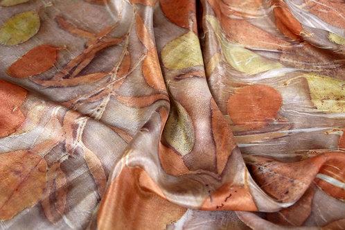 "Silk ""atufa"" scarf printed with various eucalyptus leaves"