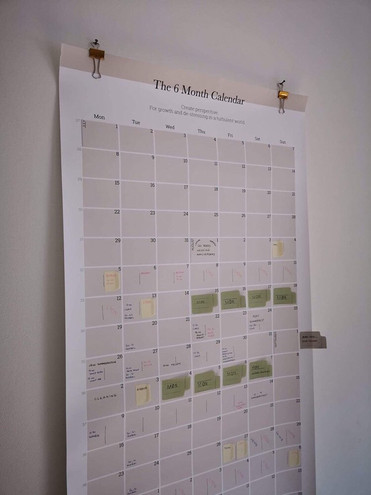 Gladys' six month calendar
