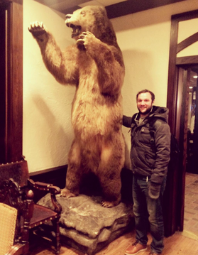 Matt Prekop and a bear. At the Big Sky Film Festival for OPER ATION ALLIE.