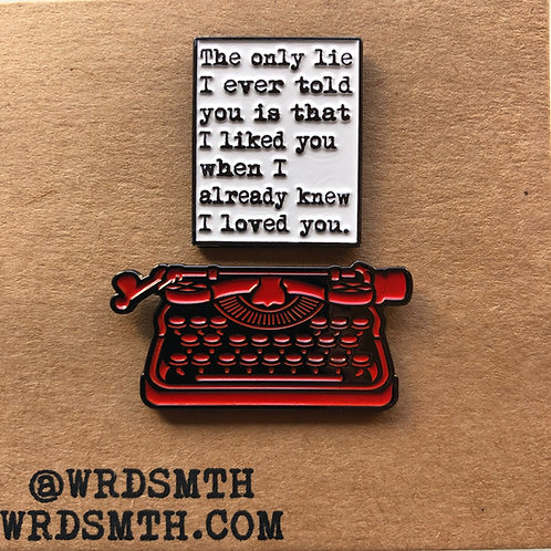 The Only Lie Pin Set - Page + Romantic Red Typewriter