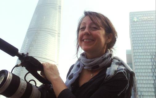 Casey Suchan filming in Shanghai.