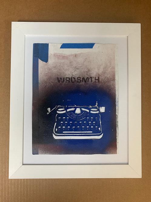 WRDSMTH typewriter, circa 2014 -- original hand cut stencil (framed)