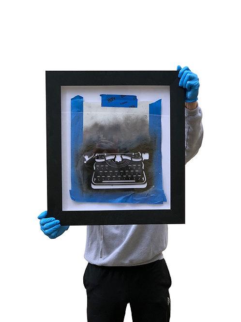 WRDSMTH typewriter - hand-cut stencil + custom framed