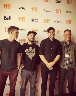 The editorial team for JIM & ANDY at the Toronto International Film Festival.