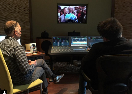 Michael Vollmann doing the sound mix for THE BLOOD IS AT THE DOORSTEP prior to the SXSW premiere.