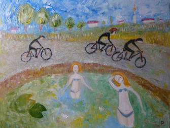 Cyclists and bathers, e voi preferite un bel giro in bicicletta o entrare nel lago?