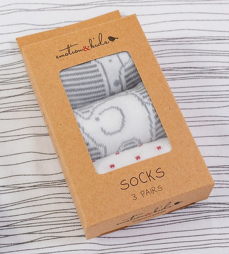 Emotion & Kids | Grey & White Safari Socks 3 Pack