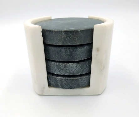 Marble Coasters Set of 4 In Marble Holder