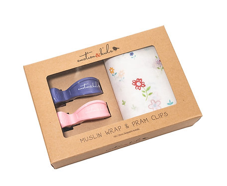 Emotion & Kids | Flower Muslin with Pink & Purple Clip Pack Set