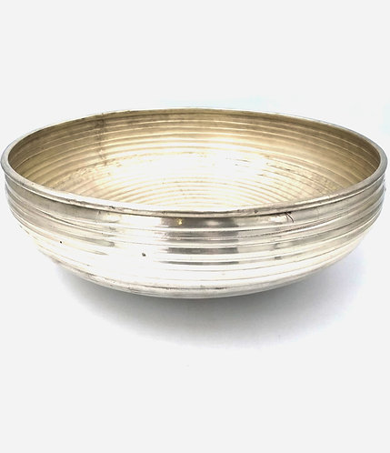 Brass Ornate Ridged Bowl | Antique Silver