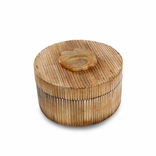 Round Bone with Agate Stone