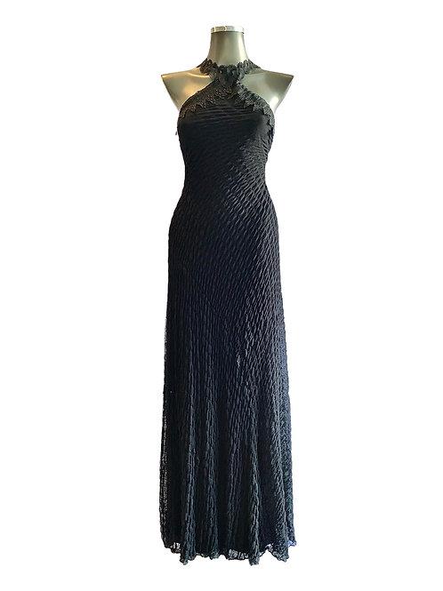 VLL/0423 - Vestido Longo Tule Flocado com Gola