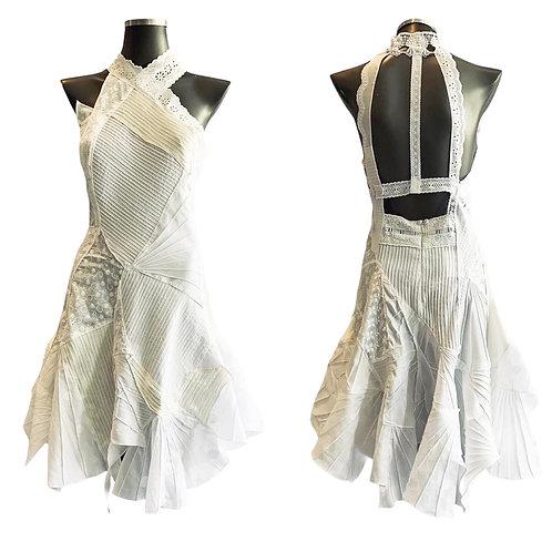 LV/5577 - Vestido com encaixes Texturizados de Algodão