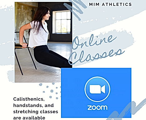A student doing calisthenics in a home online workout