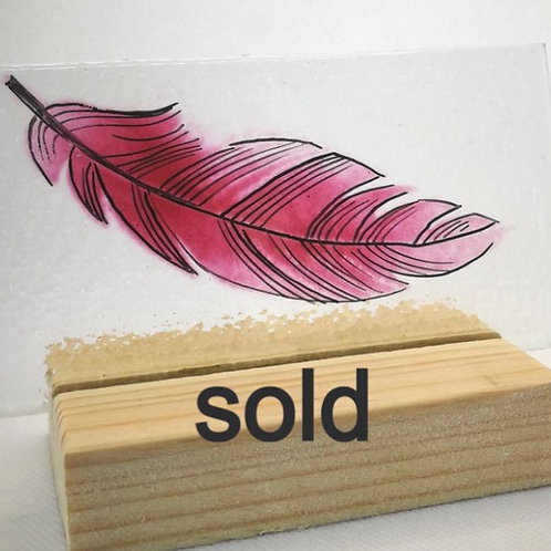 Ruby pink fused glass feather