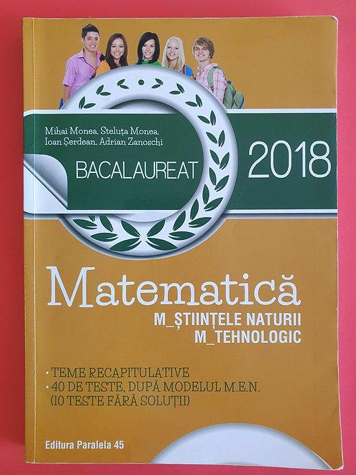 Bacalaureat Matematică 2018 (M_Științele naturii, M_Tehnologic)