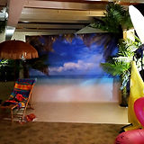 Photo Backdrop example of a sunny beach scene at a Event