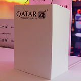 Printed Lecterns example of a Lectern with Qatar Airways branding from the Qatar Airways Event at South Lodge.