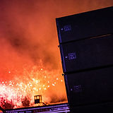 Outdoor Sound Systems example of stack of loudspeakers at Lingfield Fireworks
