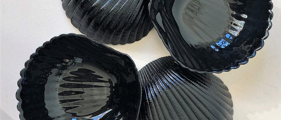 set of black glass seashell bowls