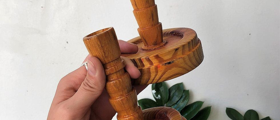 handcarved, wooden candlestick holders