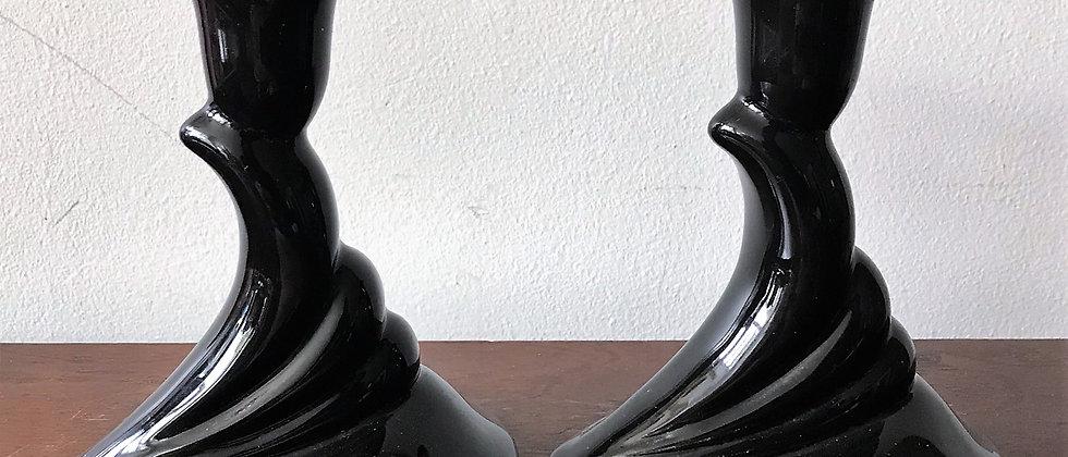pair of black, ceramic, art-deco candlestick holders