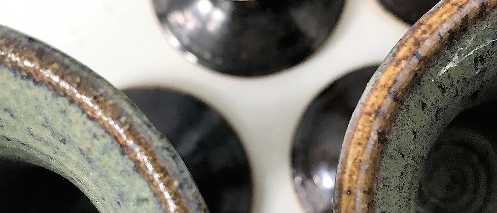 set of six, handmade ceramic goblets