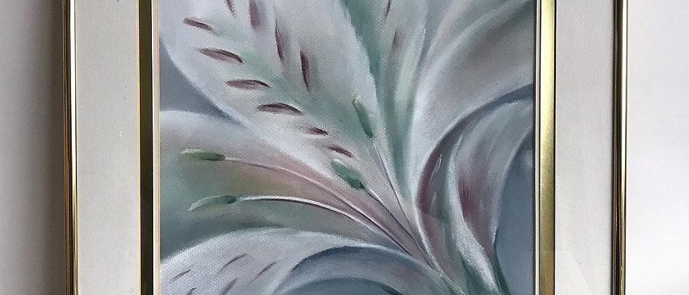 original flower pastel, framed art