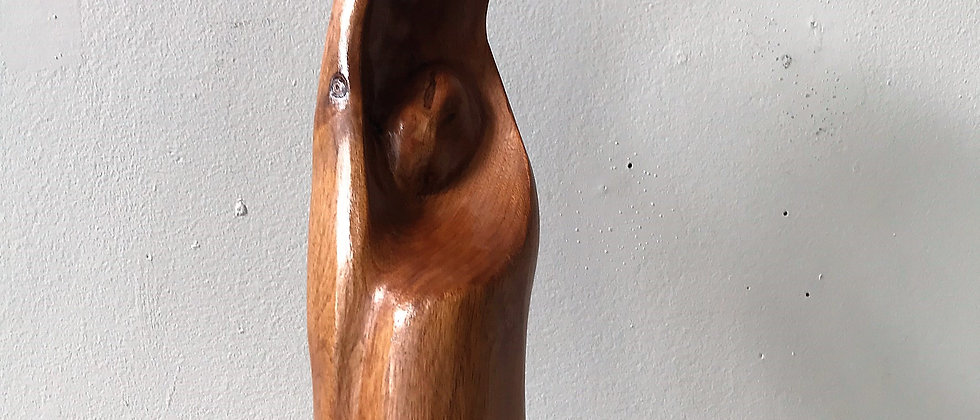 abstract, hand-carved, wooden statue