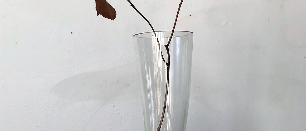 clear glass, boot shaped vase