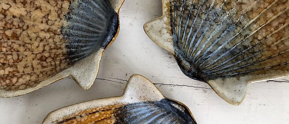 set of three, ceramic seashell dishes