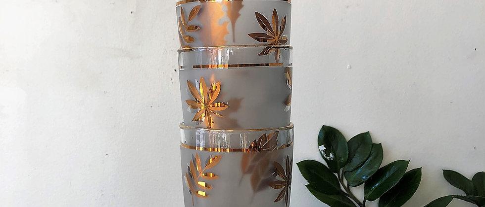 set of four gold leaf glass