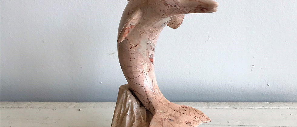 etched, marble dolphin