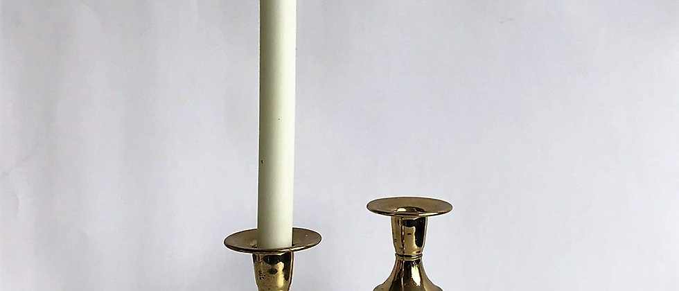pair of marble, brass, and wood candlestick holders