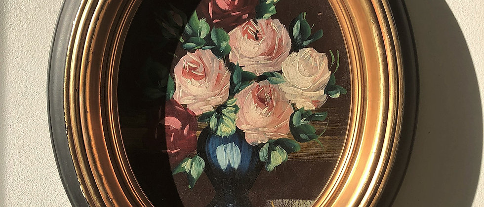 original, floral painting in oval frame