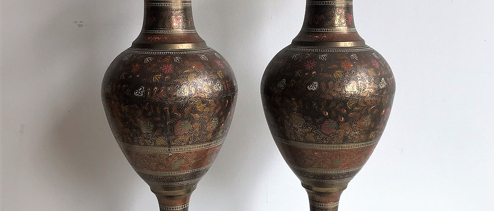pair of extra-large, etched brass, urns