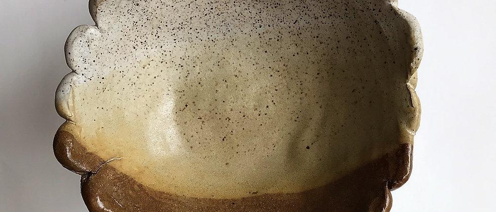 ceramic bowl, with scalloped edge