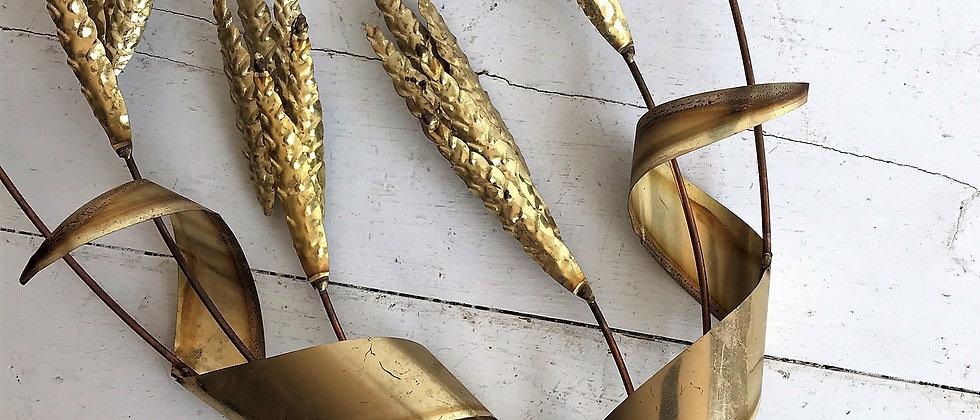 brass, wheat wall art