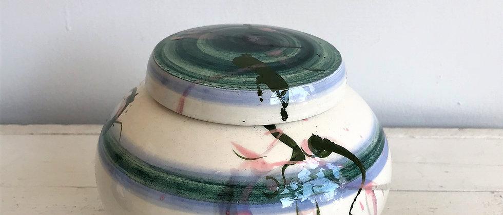 handpainted, ceramic canister