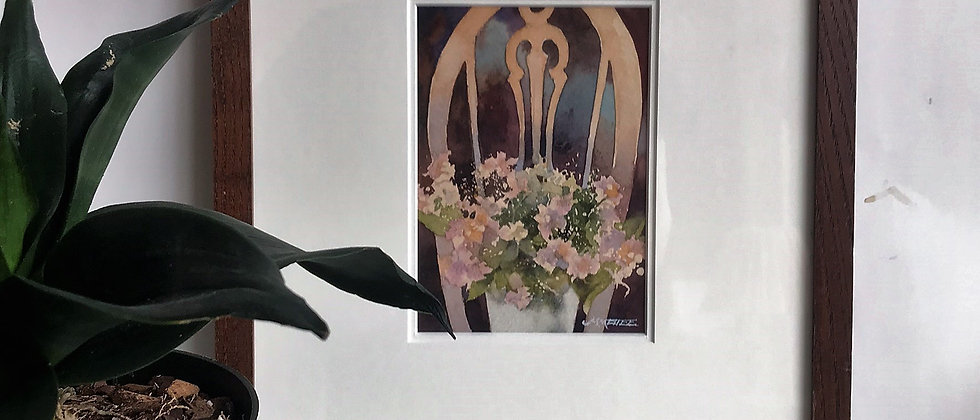 original watercolor, chair with flowers, framed art