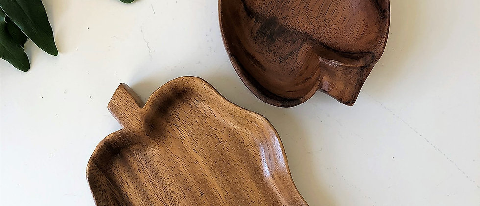 pair of wooden leaf dishes