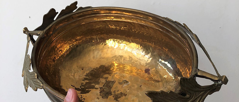 brass dish with leaf handles