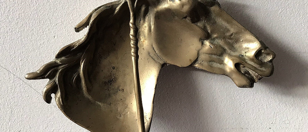 brass, horse head dish or wall hanging