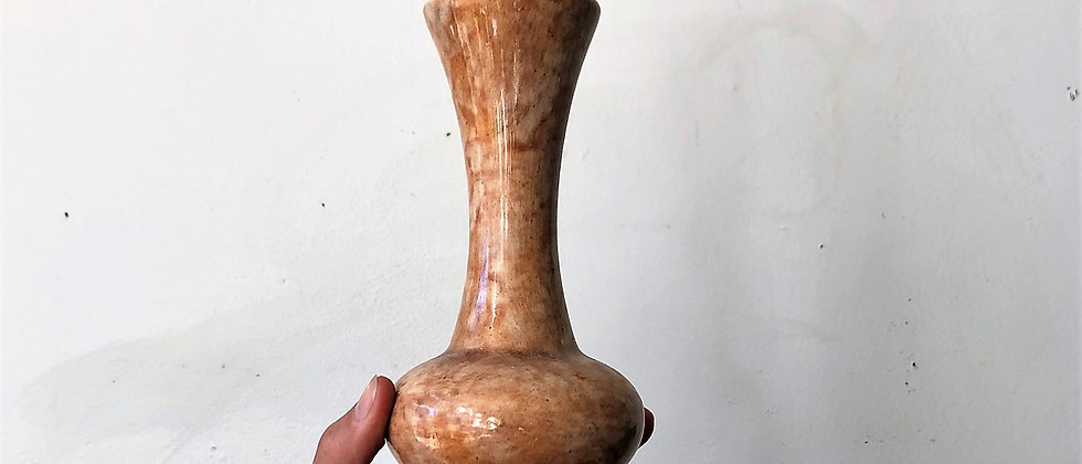 peach and cream marbled vase
